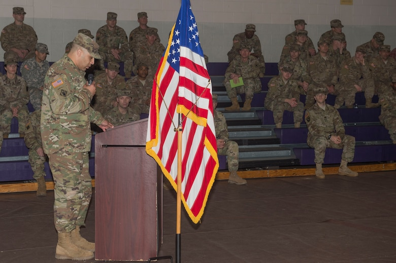 U.S. Army Lt. Col Perry Stiemke, commander 92nd Engineer Battalion, 20th Engineer Brigade, speaks during a deployment ceremony at Joint Base Langley-Eustis, Va., Jan. 24, 2018. The 74th Dive Detachment conducted several field training exercises and small diving missions to prepare for an upcoming deployment in support of Operation Spartan Shield. (U.S. Air Force photo by Senior Airman Derek Seifert)