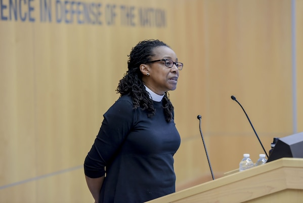 Rev. Judy Fentress-Williams, a Virginia Theological Seminary professor, addresses the DIA workforce.