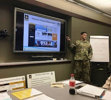 CW3 Michael Osborne teaches in the CES Intermediate Course on Jan. 22, 2017 at the Army Management Staff College in Ft. Leavenworth, Kansas.