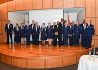 Annual Award winners from Tyndall Air Force Base, Fla., sing the Air Force song at the conclusion of the Annual Award ceremony Jan. 26, 2018 at the Horizons Community Center.