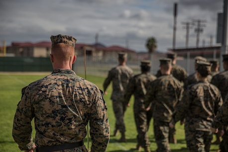 Practicing Drill Corporals Course 3-18 1st Marine Logistics Group
