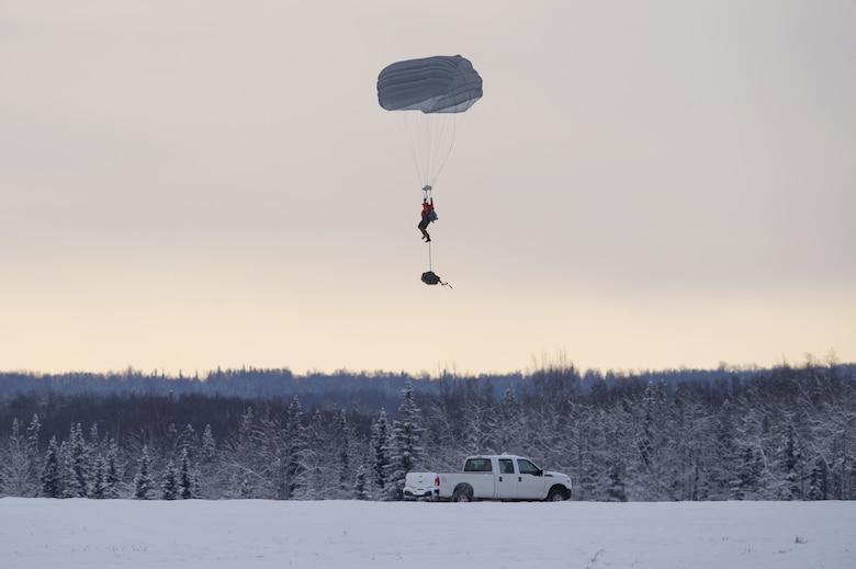 Alaska Air National Guard Rescue Squadrons conduct precision parachute training at JBER