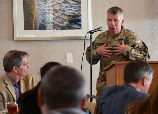 Lt. Gen. Todd Semonite, commanding general of the U.S. Army Corps of Engineers, discusses the national perspective of the Corps' civil works program, among other topics, during the Jan. 18 California Marine Affairs and Navigation Conference in San Pedro, California.