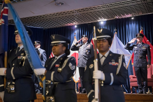 Yokota Base Honor Guard posts the colors during the United Nations Command (Rear) change of command ceremony