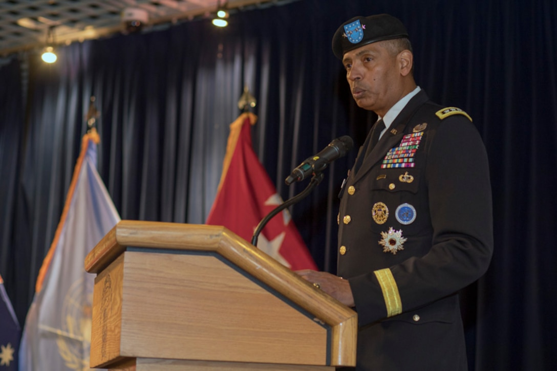 U.S. Army General Vincent K. Brooks, United Nations Command, Combined Forces Command and U.S. Forces Korea commanding general, gives a speech during the United Nations Command (Rear) change of command ceremony