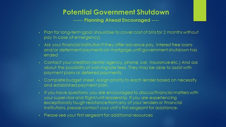 Potentential Government Shutdown - Planning encouraged