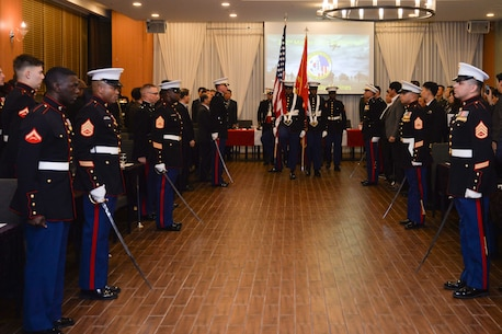 Colors being presented at the Marine Corps Birthday Ceremony.