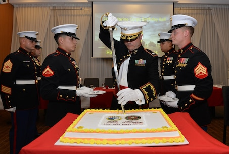 Cutting the cake at the Marine Corps Birthday Celebration.