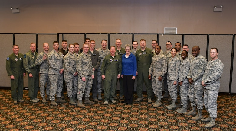 Secretary of the Air Force Heather Wilson and Air Force Chief of Staff Gen. David L. Goldfein pose for a group photo with Airmen and senior leadership from the 8th Fighter Wing at Osan Air Base, Republic of Korea, January 29, 2018. Members of the Wolf Pack were recognized as superior performers by Wilson and Goldfein and briefed the senior leaders on the specific mission sets in their respective fields. (U.S. Air Force photo by Staff Sgt. Franklin R. Ramos)