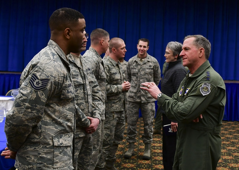 Secretary of the Air Force Heather Wilson and Air Force Chief of Staff Gen. David L. Goldfein speak with Airmen from the 8th Fighter Wing at Osan Air Base, Republic of Korea, January 29, 2018. Members of the Wolf Pack were recognized as superior performers by Wilson and Goldfein and briefed the senior leaders on the specific mission sets in their respective fields. (U.S. Air Force photo by Staff Sgt. Franklin R. Ramos)