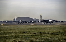 Three B-52 Stratofortress aircraft prepare to take off from RAF Fairford, England, en route to their home station at Minot Air Force Base, N.D., on Jan 30, 2018. Approximately 300 Airmen assigned to the 5th Bomb Wing deployed to the United Kingdom to conduct theater integration and flying training. (U.S. Air Force photo by Staff Sgt. Trevor T. McBride)