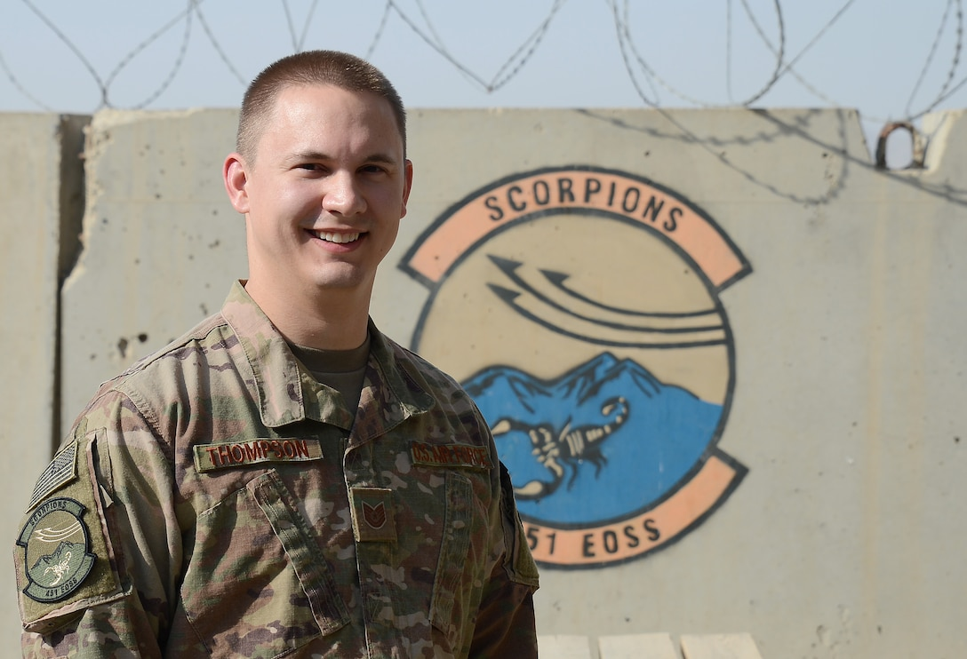 Tech. Sgt. Steven Thompson, 451st Expeditionary Operation Support Squadron command and control operations NCOIC, poses for a photo Jan. 9, 2018 at Kandahar Airfield, Afghanistan.