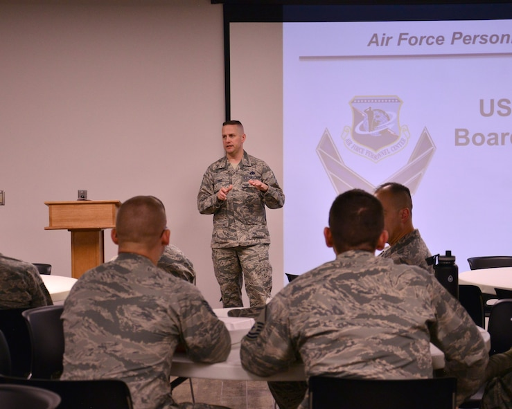 """Schriever Air Force Base, Colo.—Chief Master Sgt. Jason Tiek, command chief, 50th Space Wing, provides opening prior to """"lunch and learn"""" at the Schriever Air Force Base Event Center, Jan. 30, 2018. Tiek's class on the Air Force senior noncommissioned officer board selection covered how Airmen can prepare themselves and their records for the board process. The Lunch and Learn held monthly at the event center covers topics pertaining to airmen's professional development. (U.S. Air Force photo by Staff Sgt. Matthew Coleman-Foster)"""