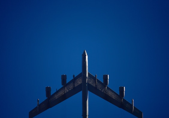 A B-52H Stratofortress flies over Minot Air Force Base, N.D., Jan. 30, 2018. This bomber, along with three others, recently deployed to Europe to exercise a state of readiness at RAF Fairford, United Kingdom. (U.S. Air Force photo by Tech. Sgt. Jarad A. Denton)