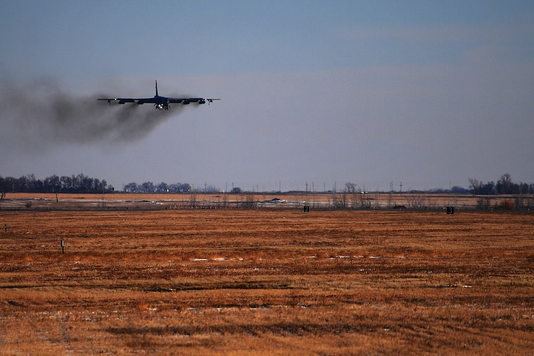 A B-52H Stratofortress prepares to land at Minot Air Force Base, N.D., Jan. 30, 2018. A total of four bombers deployed to RAF Fairford, United Kingdom, to conduct theater integration and flying training exercises. (U.S. Air Force photo by Tech. Sgt. Jarad A. Denton)