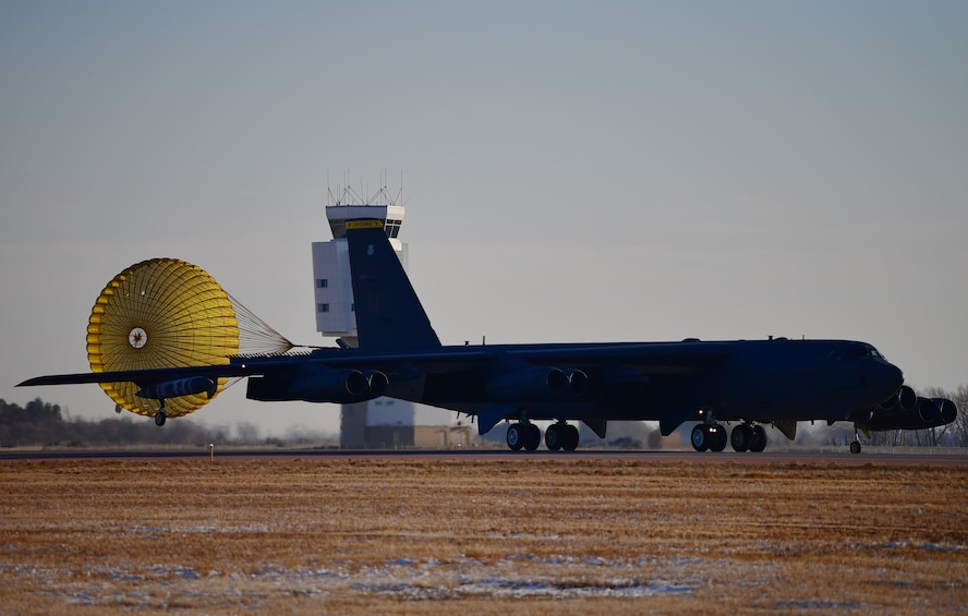A B-52H Stratofortress deploys its drogue parachute after landing at Minot Air Force Base, N.D., Jan. 30, 2018. A drogue parachute is designed to provide control, stability and slow rapidly-moving objects. (U.S. Air Force photo by Tech. Sgt. Jarad A. Denton)