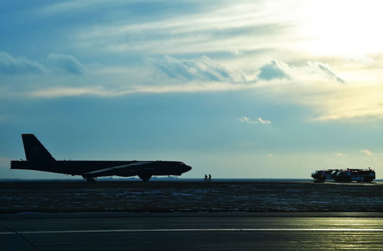 A B-52H Stratofortress sits on the flight line at Minot Air Force Base, N.D., Jan. 30, 2018. The aircraft returned from a deployment to the United Kingdom, where it, along with three others, conducted theater integration and flying training. (U.S. Air Force photo by Tech. Sgt. Jarad A. Denton)