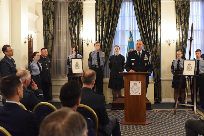 U.S. Air Force Brig. Gen. Christopher Short, United States Senior Defense Official and Defense Attaché, England, speaks during the eagle squadron ceremony at Royal Air Force Club in London, England, June 29. The event was held in celebration of the RAF 100th anniversary and marks the date U.S. Army Air Corps Col. Charles Sweeney wrote to the U.K. Air Ministry proposing the formation of RAF fighter squadrons comprised of American volunteers in 1940. (U.S. Air Force photo/Airman 1st Class Christopher S. Sparks)