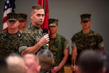 Brig. Gen. Keith D. Reventlow, commanding general of 3rd Marine Logistics Group, addresses the audience during the regimental change of command ceremony July 2, 2018 at Camp Kinser, Okinawa, Japan. Lt. Col. Kenric D. Stevenson assumed command of Combat Logistics Regiment 35 in May 2018 and was succeeded by Col. Joon H. Um. Reventlow is a native of Newtown, Connecticut. Stevenson is a native of DeRidder, Louisiana. (U.S. Marine Corps photo by Cpl. Joshua S. Pinkney)