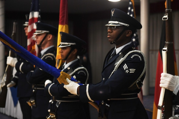 Senior Airman Pascal Nyowatchon, 435th Air Ground Operations Wing, performs a ceremonial Honor Guard drill on Ramstien Air Base, Germany, February 15th, 2018.