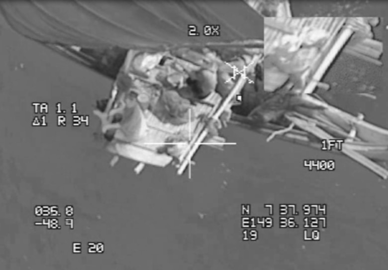Six passengers aboard a canoe were located in a joint search and rescue mission June 25, 2018, in the Pacific Ocean southwest of Guam. Crew members flying a B-52H Stratofortress assigned to the 20th Expeditionary Bomber Squadron , stationed at Barksdale Air Force Base, La., and deployed to Andersen AFB, Guam, successfully located six passengers who had been missing for six days and relayed their location to the Coast Guard. (courtesy photo)