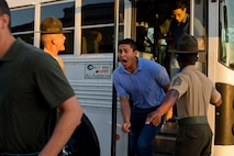 New recruits with Delta Company, 1st Recruit Training Battalion, are welcomed to Marine Corps Recruit Depot San Diego, June 25.