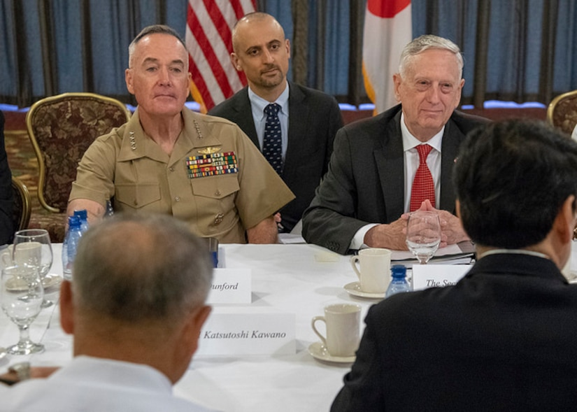 Defense Secretary James N. Mattis, and Marine Corps Gen. Joe Dunford, chairman of the Joint Chiefs of Staff, meet Japanese Defense Minister Itsunori Onodera, and Japanese Adm. Katsutoshi Kawano, chairman of the Japan Self-Defense Force Joint Chiefs of Staff, during a bilateral meeting at Joint Base Pearl Harbor-Hickam, Hawaii, May 29, 2018. DoD photo by Navy Petty Officer 1st Class Dominique Pineiro
