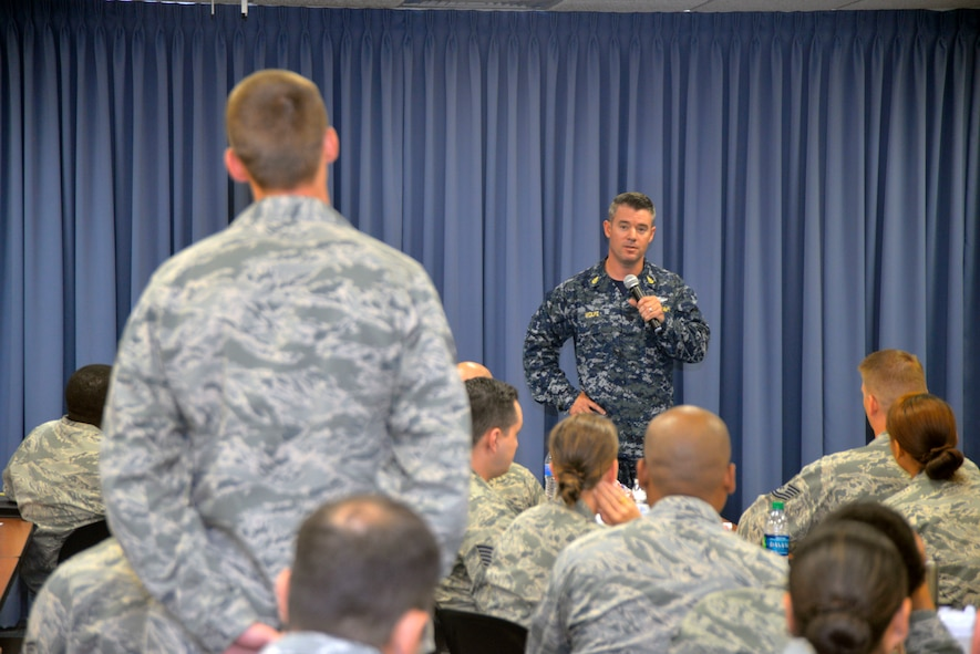 Navy Senior Chief Petty Officer Trevor Wolfe, U.S. Transportation Command Command Surgeon's Office, answers a question at the Scott Air Force Base Senior NCO Professional Enhancement Course on Scott AFB June 28, 2018.