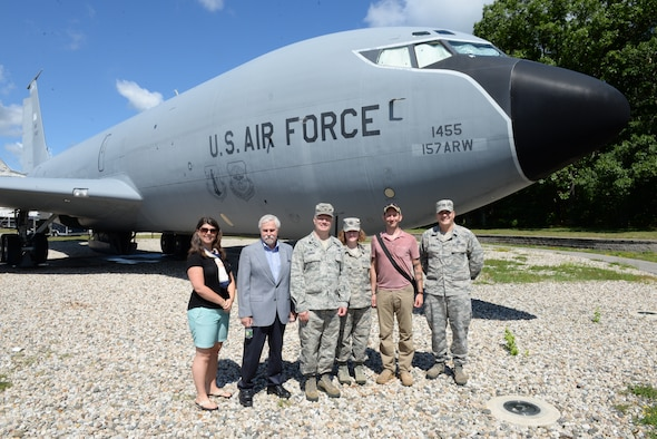 U.S. Air Force Col. John W. Pogorek, Left,  157th Air Refueling Wing commander, Capt. Megan C. Martin, Nurse, 157th Medical Group, Capt. Michael G. Petrin, 157th ARW executive officer, pose for a group photo with civic leaders Rebecca Perkins and Josh Denton, both Portsmouth City councilors, and Joseph Lovejoy, vice chair, Stratham Board of Selectmen. The civic leaders visited Pease to understand the mission of the 157th ARW, June 29, 2018.  (N.H. Air National Guard Photo by Master Sgt. Thomas Johnson)