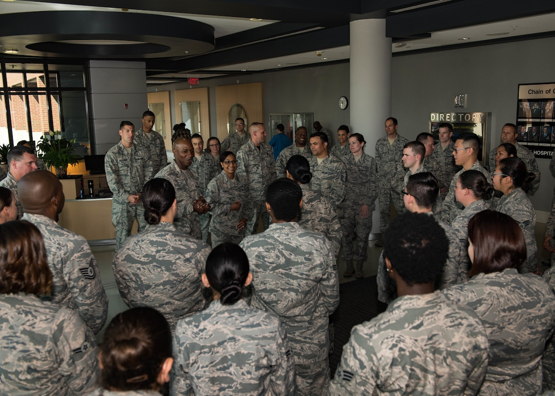 Chief Master Sgt. of the Air Force Kaleth O. Wright talks with Airmen of the 633rd Medical Group during his visit to Joint Base Langley-Eustis, Virginia, June 29, 2018. Wright toured JBLE for two days seeing the day-to-day operations of the different wings and units here. (U.S. Air Force photo by Airman 1st Class Anthony Nin-Leclerec)