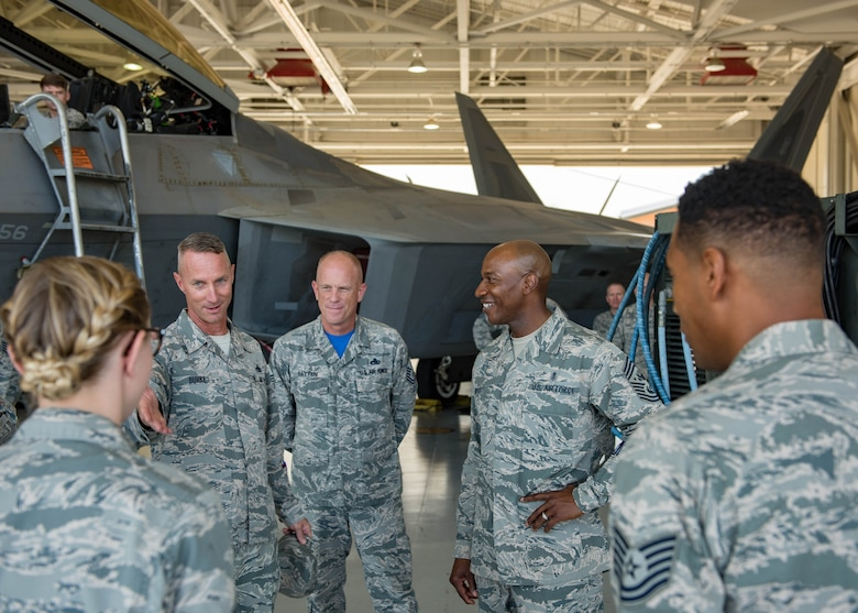 Air Combat Command and 1st Fighter Wing senior leaders introduce outstanding Airmen from their unit to Chief Master Sgt. of the Air Force Kaleth O. Wright during his visit to Joint Base Langley-Eustis, Virginia, June 29, 2018. Wright toured JBLE for two days seeing the day-to-day operations of the different wings and units here. (U.S. Air Force photo by Airman 1st Class Anthony Nin-Leclerec)