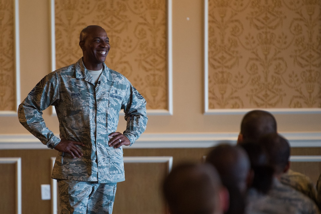 Chief Master Sgt. of the Air Force Kaleth O. Wright speaks to the enlisted Airmen at Joint Base Langley-Eustis, Va. June 28, 2018. During the all call he talked about his three initiatives, answered questions and ended it with a meet-and-greet. (U.S. Air Force photo by Master Sgt. Benjamin Wilson)