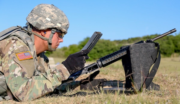 Spc. Bryce Falgiani, a San Antonio native, had his accuracy put to the test during the shooting range in the Best Warrior Competition. He earned a spot in the final round of the competition at Fort A.P. Hill in October.