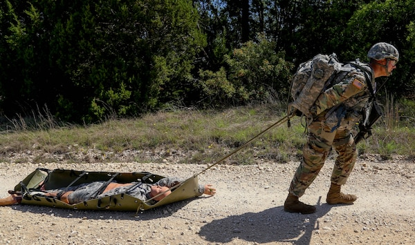 During the combat lane portion of the competition, Spc. Bryce Falgiani had to evaluate a casualty, perform first aid and transport the casualty. Falgiani won the Soldier slot in the latest Best Warrior Competition and is advancing to the final round in October.