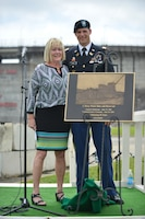 Harriett Priest, daughter of the late Congressman J. Percy Priest, and Maj. Justin Toole, U.S. Army Corps of Engineers Nashville District deputy commander, unveil a commemorative plaque during the 50th Anniversary of J. Percy Priest Dam and Reservoir at the dam in Nashville, Tenn., June 29, 2018. (USACE Photo by Mark Rankin)