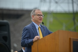 Nashville Mayor David Briley speaks during the 50th Anniversary of J. Percy Priest Dam and Reservoir at the dam in Nashville, Tenn., June 29, 2018. He said that nearly two million citizens continue to enjoy the many benefits the lake provides, which his own grandfather Beverly Briley championed as the first mayor of Metro Nashville when the Corps of Engineers constructed the dam in the 1960s. (USACE Photo by Mark Rankin)