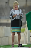 Harriett Priest, daughter of the late Congressman J. Percy Priest, recites a poem honoring her father during the 50th Anniversary of J. Percy Priest Dam and Reservoir at the dam in Nashville, Tenn., June 29, 2018. (USACE Photo by Mark Rankin)