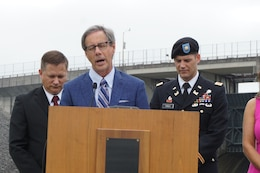 Pastor Robert J. Morgan, The Donelson Fellowship, gives the invocation during the 50th Anniversary of J. Percy Priest Dam and Reservoir at the dam in Nashville, Tenn., June 29, 2018. (USACE Photo by Mark Rankin)