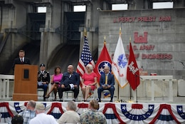 Tommy Mason, J. Percy Priest Lake resource manager, welcomes visitors to the 50th Anniversary of J. Percy Priest Dam and Reservoir at the dam in Nashville, Tenn., June 29, 2018. The ceremony took place 50 years to the day after President Lyndon B. Johnson dedicated the project. (USACE Photo by Lee Roberts)