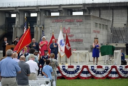 Music Artist Alysha Nyx sings the National Anthem during the 50th Anniversary of J. Percy Priest Dam and Reservoir at the dam in Nashville, Tenn., June 29, 2018. (USACE Photo by Lee Roberts)
