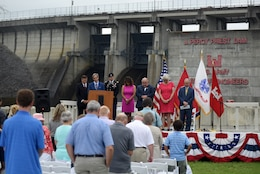 Pastor Robert J. Morgan, The Donelson Fellowship, gives the invocation during the 50th Anniversary of J. Percy Priest Dam and Reservoir at the dam in Nashville, Tenn., June 29, 2018. USACE Photo by Lee Roberts)
