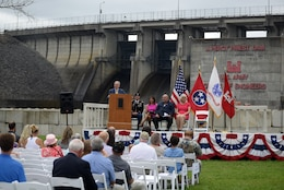 Nashville Mayor David Briley speaks during the 50th Anniversary of J. Percy Priest Dam and Reservoir at the dam in Nashville, Tenn., June 29, 2018. He said that nearly two million citizens continue to enjoy the many benefits the lake provides, which his own grandfather Beverly Briley championed as the first mayor of Metro Nashville when the Corps of Engineers constructed the dam in the 1960s. (USACE Photo by Lee Roberts)