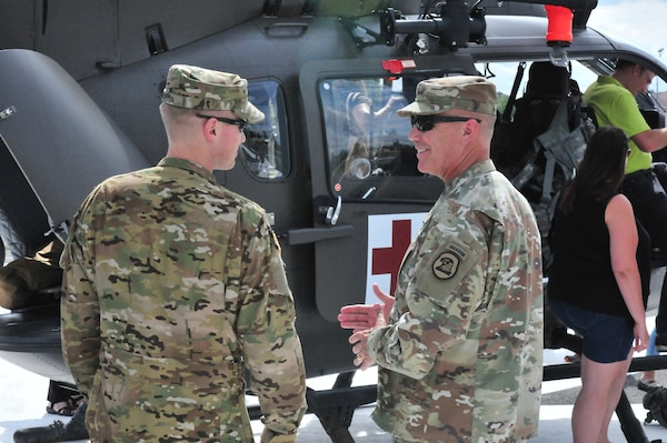 Iowa National Guard Adjutant General, Maj. Gen Tim Orr, visits with his Soldiers assigned to A Co. 1-376 AVN BN deployed to Germany supporting real world medevac missions in Hohenfels and Grafenwoehr military bases.