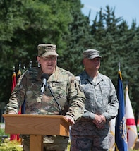 Maj. Gen. William Hall speaks during a change of command ceremony at Seay Plaza on Fort Eustis on June 29. Hall assumed command of Joint Task Force Civil Support (JTF-CS) from Maj. Gen. Richard Gallant, and is now the tenth commander of JTF-CS.