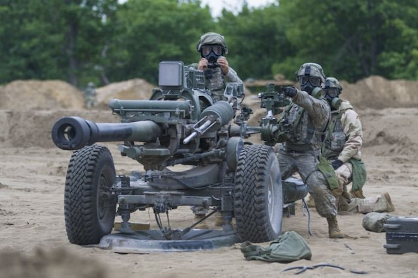 National Guard Soldiers participating in a combat training capability (XCTC) conduct a battery defense, June 13, 2018, at Fort Drum, N.Y.