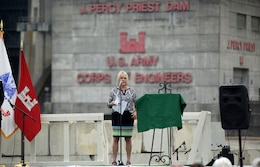 Harriett Priest, daughter of the late Congressman J. Percy Priest, recites a poem honoring her father during the 50th Anniversary of J. Percy Priest Dam and Reservoir at the dam in Nashville, Tenn., June 29, 2018. (USACE Photo by Lee Roberts)