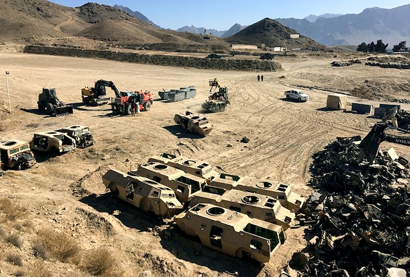 Members of the DLA Disposition Services team in Afghanistan proved they're willing to leave their comfort zone to support military customers when the team traveled to Camp Moorhead to conduct demilitarization of gear designated to become scrap. The demilitarization process normally takes place at one of four DLA Disposition facilities still in existence in Afghanistan.