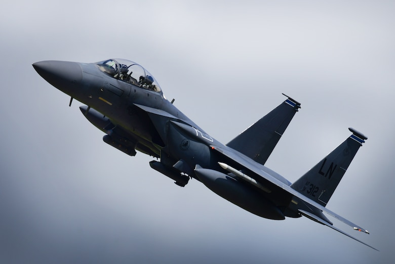 An F-15E Strike Eagle assigned to the 492nd Fighter Squadron flies over Royal Air Force Lakenheath, England, May 10. The 492nd trains regularly to ensure RAF Lakenheath brings unique air combat capabilities to the fight. (U.S. Air Force photo/ Tech. Sgt. Matthew Plew)
