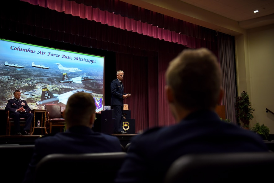 Lt. Gen. Jay Silveria, U.S. Air Force Academy superintendent, speaks to Specialized Undergraduate Pilot Training Class 18-11 during their graduation ceremony June 29, 2018, on Columbus Air Force Base, Mississippi. Each SUPT class has a graduation breakfast, ceremony and dinner to celebrate their accomplishments over the past 13 months. (U.S. Air Force photo by Airman 1st Class Keith Holcomb)