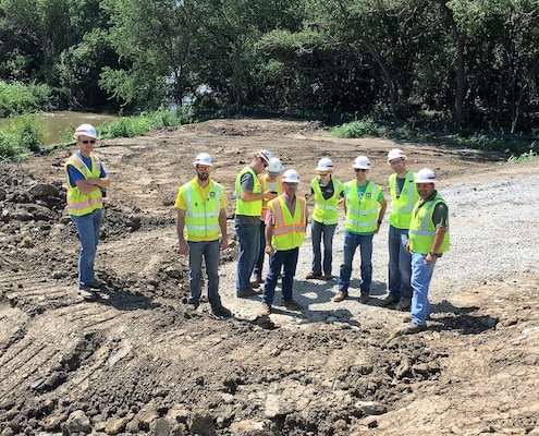 The St. Joseph Levee Project Delivery Team members made a site visit to the Brown's Branch Gatewell Structure Construction site  June 29, 2018 in St. Joseph, Mo.